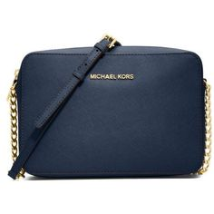 Michael Michael Kors Navy Jet Set Travel Large East West Crossbody ($148) ❤ liked on Polyvore featuring bags, handbags, shoulder bags, navy, crossbody travel purse, blue crossbody, crossbody handbags, navy blue handbags and blue shoulder bag