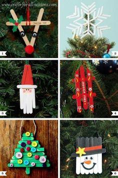Popsicle Stick Christmas Ornaments - Reindeer, Star, Santa, Christmas Tree, Snowman