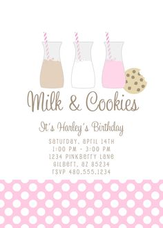 Party Printables Invitation  Milk and Cookies by PetitePartyStudio, $15.00
