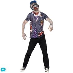 Disfraz camiseta de estudiante zombie para hombre