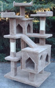 Cat Furniture-perfect for Hugo. Baby Kitty may enjoy too. But Phoebe is entirely too fat to participate. get some yourself some pawtastic adorable cat apparel! Cat Tower Plans, Baby Cats, Baby Kitty, Cat Castle, Cat Tree House, Diy Cat Tree, Cat Playground, Cat Scratching Post, Cat Scratcher