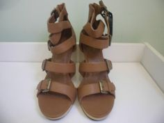 Womens Ladies Tan High Block Heel Summer Strappy Shoes Sandals Size UK 5 New    Click On Link To Visit My Ebay Shop  http://stores.ebay.co.uk/all-about-feet  Useful Info:  - Standard Size - Standard Fit - By Florence & Fred - Tan In Colour - Heel Height: 3.8 Inches - Platform: 0.5 Inches - Strappy And Buckle Detail - Back Zip Fastening - Wooden Heel And Platform