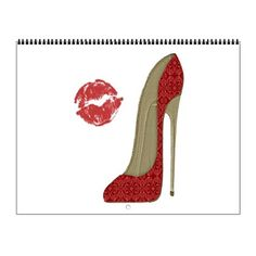 Red Lace Stiletto and Kiss Wall Calendar on CafePress.com