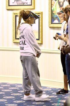 Ariana Grande wearing Anti Social Social Club Logo Hoodie, Puma Rihanna Satin Creepers
