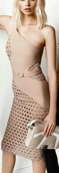 @roressclothes clothing ideas #women fashion nude Versace dress