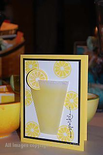 Lemonade card. Even has instructions as to how to make the lemon slice on the tumbler scratch and sniff.