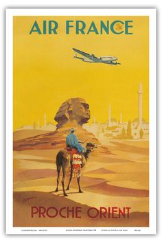 Air France - Proche Orient (Near East) - Lockheed Constellation flys over the Sphynx - Vintage Airline Travel Poster c.1948 - Master Art Print - 12in x 18in: Amazon.ca: Maison et Cuisine