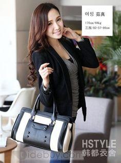 女性春新着シンプルな黒コントラスト色houlderバッグ