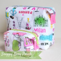 Do you love the look of boxy pouches, but feel intimidated about actually making one? These pouches have little tabs and snaps ~ Clover and Violet