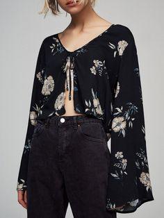 Shop Shirts & Blouses - Black Floral Statement Shirts & Blouse online. Discover unique designers fashion at JustFashionNow.com.