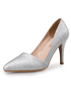 #AdoreWe #VIPme Heels & Pumps - VICONE Silver Sequin Elegant Pointed Toe Wedding High Heel Pumps - AdoreWe.com