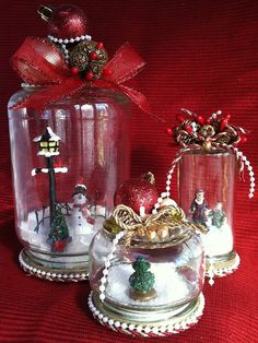 Waterless Snowglobes Set of 3 by TheSouthernTrinket on Etsy, $24.00