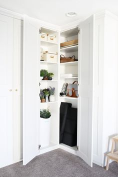 Home- Creating Built In Office Storage with the IKEA PAX system, organized office, home office organization, PAX wardrobe with GRIMO doors as office storage, how to design and install the IKEA PAX sys Home Office Storage, Office Supply Organization, Home Office Design, Organization Ideas, Wardrobe Organisation, Ikea Pax System, Ikea Pax Corner Wardrobe, Armoire Pax, Ikea Closet Organizer