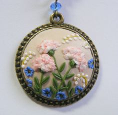 Carnation Pendant   Handmade Jewelry Polymer by TheClayFlorist, £24.99