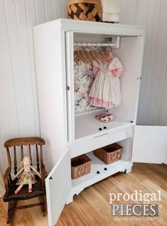 Do you have a useless entertainment center hanging around? Give it new life as a child's wardrobe. Come see this upcycled entertainment center made new. Diy Nursery Furniture, Diy Furniture Cheap, Diy Furniture Renovation, Diy Furniture Hacks, Furniture Projects, Furniture Legs, Garden Furniture, Furniture Design, Children Furniture
