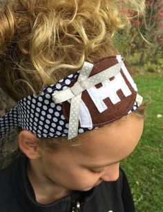 Football: Blue Dot Fabric Headband with Silver Dot Ribbon (Dallas Cowboy colors)  by letterbdesigns on Etsy