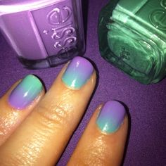 Purple and green fade nails. by jenifer