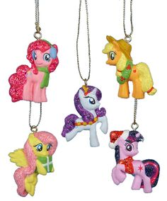 My Little Pony Set of 5 Figural Holiday Christmas Ornaments