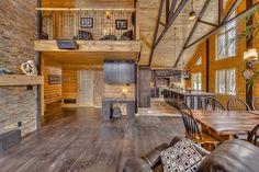 Timber block revolutionizes ontario's cottage country Log Home Interiors, Wood Interiors, Log Home Decorating, Decorating Ideas, Cabin Floor Plans, Open Concept Floor Plans, Log Cabin Homes, Barn Homes, Dream House Interior