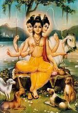 Story of Sri Guru Dattatreya Tantra Art, Hindu Symbols, Krishna Radha, Hanuman, Lord Krishna, Mosaic Tile Art, Lord Balaji, Lord Shiva Family, Indian Art Paintings