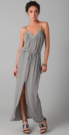 Rory Beca Gray Keith V Neck Slit Gown