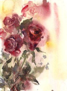 Roses Original Watercolor Painting Watercolour Art by CanotStop
