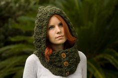 Hooded Cowl, Wood Button Crochet hooded scarf, Olive green on easy