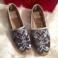 "Tory Burch Espadrilles. Price Firm. A vacation-favorite espadrille flat is light and airy in a mesh-backed, lacy leather motif. Textile and leather upper/leather lining/synthetic sole. By Tory Burch. Blue/Ivory. Measure toe to heel approx 10.5"" Tory Burch Shoes Espadrilles"