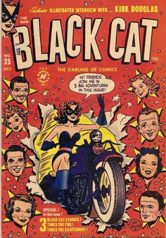 Black Cat (Oct cover by Lee Elias. Vintage Comic Books, Vintage Comics, Comic Books Art, Comic Art, Book Art, Black Cat Comics, Pulp Fiction Comics, Josie And The Pussycats, Old Comics