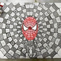 """82 Likes, 6 Comments - Zareen Taj Hidhayath (@zareensart) on Instagram: """"Spiderman . #zentangle #zentangles #zentangleart #doodle #zentangleartist #art #drawing #instagood…"""""""