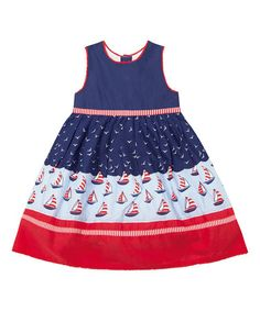 Another great find on #zulily! Navy Sailboat A-Line Dress - Infant, Toddler & Girls #zulilyfinds