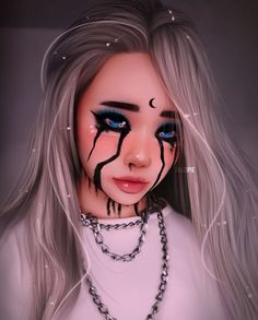 This HAS to be Billie eilish,in her song when the party's over Rock Kunst, Dibujos Tumblr A Color, Girly M, Digital Art Girl, Maquillage Halloween, Anime Art Girl, Billie Eilish, Pink Hair, Cute Drawings