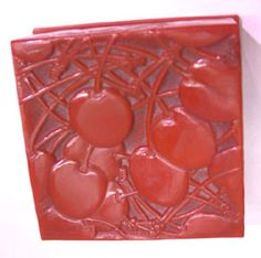 Rare signed Lalique Cherry Bakelite Box