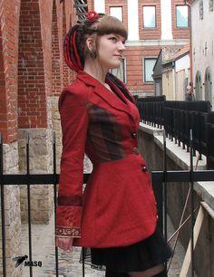 Sale MASQ custom made Elephant print jacket. Steampunk Jacket, Steampunk Clothing, Steampunk Outfits, Punk Jackets, Beige Blazer, Types Of Skirts, Elephant Print, Striped Fabrics, Print Jacket