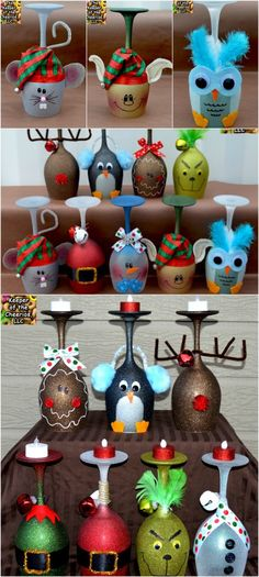 5 Cute and Clever Painting Ideas to Christmas-ify Your Wine Glasses - Decorated wine glasses - Diy Wine Glasses, Decorated Wine Glasses, Painted Wine Glasses, Decorated Wine Bottles, Wine Glass Crafts, Wine Bottle Crafts, Diy Christmas Gifts, Christmas Crafts, Wine Glass Candle Holder