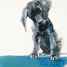 Pet Portrait, Pet Painting, Pet Art, Mac Pup Hand Embellished Giclée, Painted Fine Art Print by JacheStudio on Etsy