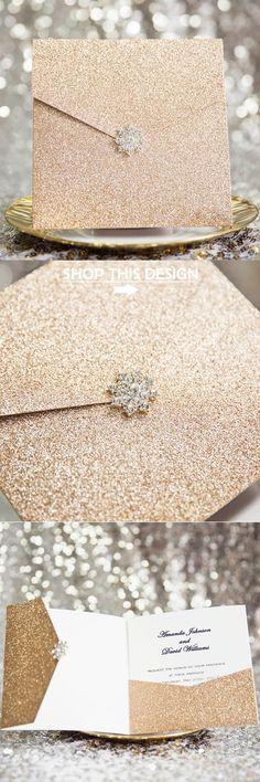 rose gold pocket wedding invitations with rhinestone buckle