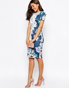 Image 4 of ASOS Floral T-Shirt Scuba Bodycon Midi Dress