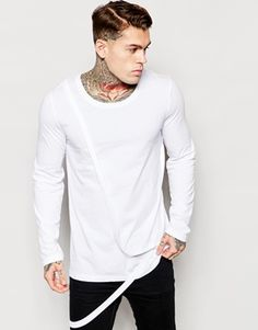 ASOS Longline Long Sleeve Top With Strap Detail