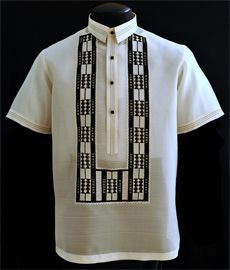 Short Sleeves Barong Tagalog Shirt in Black & White - Barongs R us - Barongs R us Barong Tagalog, Filipiniana Dress, First Communion Dresses, Line Shopping, New Wedding Dresses, Point Collar, Embroidery Stitches, Dressing, Black White