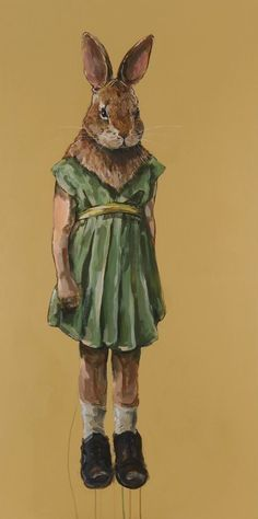 """""""Little Rabbit-Sensitive Observer"""" in 'Little Animals' Michael McConnell acrylic on wood 2010"""