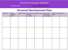 Personal Development Plan Template  Mantras