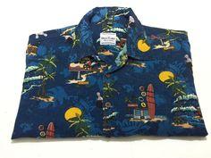 David Carey 2XL Men's Short Sleeve Blue Hawaiian Bowling Shirt XXL Cotton Rayon #DavidCarey #Hawaiian