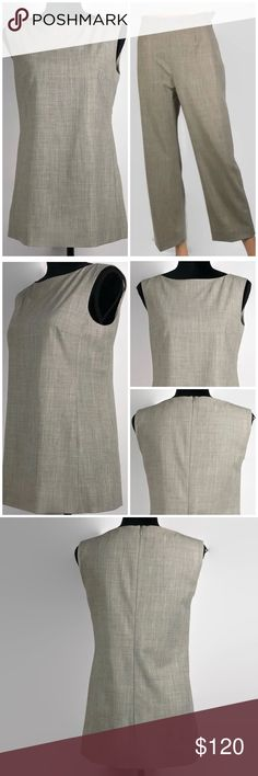 """Max Mara Women's Wool Blend Cropped Pantsuit Max Mara Women's Wool Blend Stretch Cropped Pantsuit Sleeveless Collarless Designer Clothing Office Wear Work Wear Career Wear Corporate America  - Size: 4 - Material: 96% New Wool, 4% Elastane/Spandex  - Condition: Excellent Preowned Condition - Color: Grey - Pockets: No - Lining: Yes, Top only - Made In: Italy  *Measurements(Taken Laying Flat): Top Pit-to-Pit: 16.5"""" Length: 25""""  Pants Inseam: 26"""" Waist: 12.5"""" MaxMara Other"""