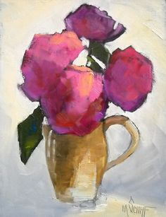 """Still Life Artists International: Flower Painting, Daily Painting, """"Peony and Pitcher"""" by Carol Schiff, 8x6"""" Oil"""