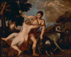"""""""Venus and Adonis,"""" Titian (Tiziano Vecellio), about 1555 - 1560. Oil on canvas. Italian Renaissance, Renaissance Art, Aphrodite, Google Art Project, Getty Museum, Landscape Background, Italian Painters, Art Database, Art Uk"""