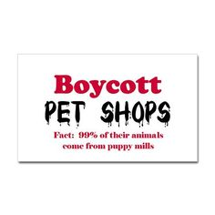 People that buy puppies and kittens from pet stores! I hate it! Do you know how many unwanted pets are put down in shelters every year? 3-4 million! Just remember the next time that you go to your local pet shop and think about buying a puppy think of that dog's parents, probably living in their own filth, in a tiny cage, and in a couple of months they'll be forced to breed again to produce more puppies for the pet shop! rant over.