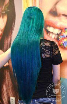 Галерея фото работ красителем Антоцианин (Anthocyanin) Green Hair Girl, Salons, Hair Beauty, Long Hair Styles, Amazing, Lounges, Long Hair Hairdos, Long Haircuts
