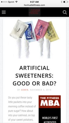 Artificial Sweeteners: Good or Bad? - Which Should You Use and Which Should You Stay Away From? -  ➡️http://www.hovhustlefitness.com/health/artificial-sweeteners-good-or-bad/⬅️ #health #fitness #weightloss #nutrition #diet #wellness