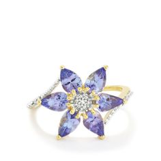 A gorgeous Ring from the Jacque Christie collection, made of 9K Gold featuring 2.09cts of amazing AA clarity Tanzanite and dazzling Diamonds.
